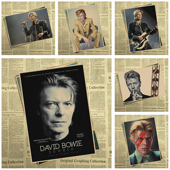 David Bowie Vintage Retro rock band müzik Gitar Mat Kraft Kağıt Antik Poster Duvar Sticker Ev Decora 22319